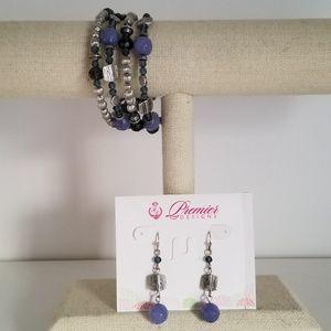 Premier Designs Denim Bracelet and Earrings